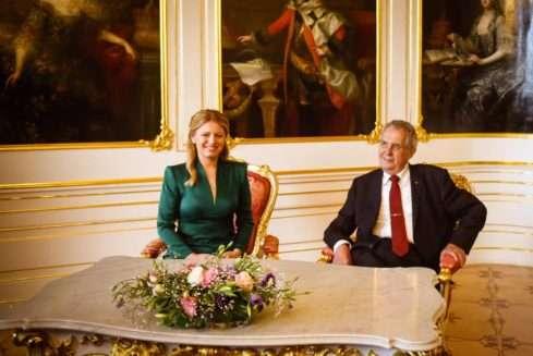Slovenská první dáma Zuzana Čaputová a český prezident Miloš Zeman