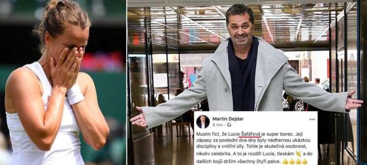 Babora Strýcová na Wimbledonu zářila. Martin Dejdar blahopřál Lucii Šafářové